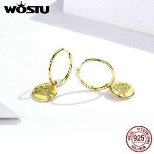 Image 3 - WOSTU 100% Настоящее 925 Висячие серьги из серебра 925 пробы золотой цвет счастливый и Прекрасный CZ Летающий поросенок серьги свадебный подарок CTE225