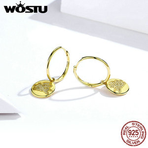 Image 3 - WOSTU 100% Real 925 Sterling Silver Drop Earrings Golden Color Happy & Lovely CZ Flying Piggy Earrings Wedding Gift CTE225