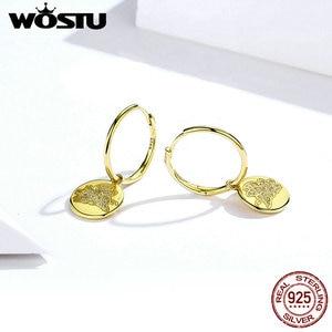 Image 3 - WOSTU 100% gerçek 925 som gümüş damla küpeler altın renk mutlu ve güzel CZ uçan Piggy küpe düğün hediye CTE225