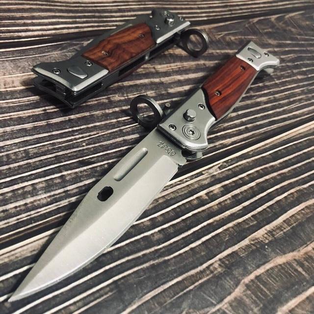 سكاكين صيد تكتيكية عالية الجودة بمساعدة عسكرية مفتوحة مزودة بجيب سكاكين لأغراض القتال الخارجي شفرة قابلة للطي AK47 سكاكين للدفاع عن النفس