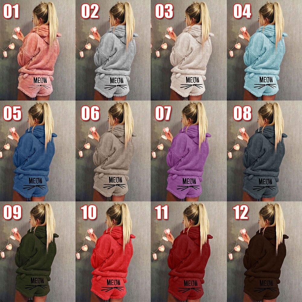 Envío Gratis mujeres conjuntos de pijamas de Otoño de 2018 de franela de invierno Pijama cálido pijamas Homewear pijamas ropa de dormir gato mujer Pijama