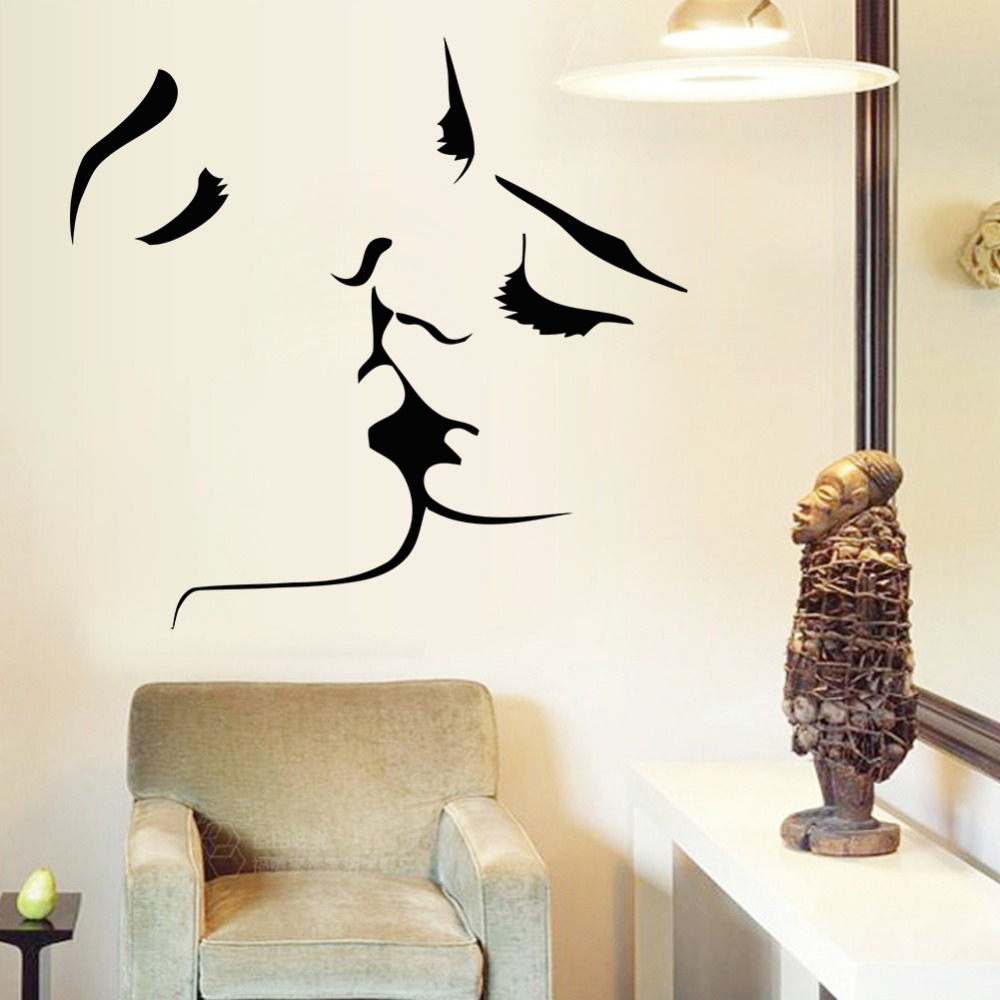 Creative abstract paintings kissing couple wall stickers for Sticker para decorar dormitorios