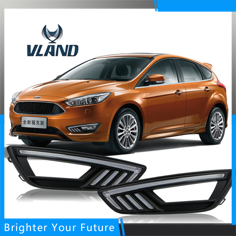 Car Accessories Waterproof Daytime Running Fog Light Lamp DRL Yellow Turn Signals for Ford Focus 2015-2016 dimming style Relay car accessories waterproof daytime running fog light lamp drl yellow turn signals for mazda 3 axela 2013 2016