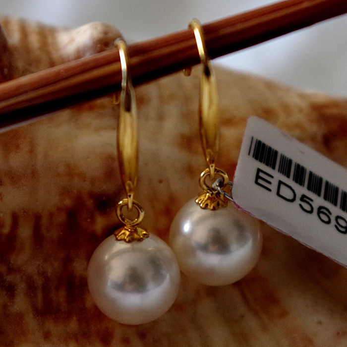 charming pair 10-11mm south sea round white pearl earring 14kcharming pair 10-11mm south sea round white pearl earring 14k