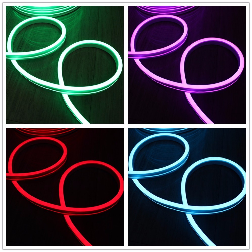 Mini Flat 11x19mm 120v / 230v color changing led neon rope light colorful flexible led neon tube 5050 smd rgb 12v/ 24v outdoor