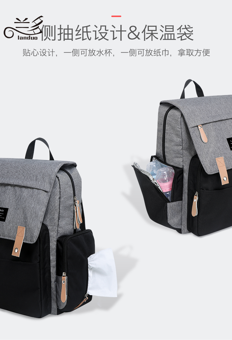 HTB1Kn53XinrK1Rjy1Xcq6yeDVXaf LAND Mommy Diaper Bags Landuo Mother Large Capacity Travel Nappy Backpacks with changing mat Convenient Baby Nursing Bags MPB86