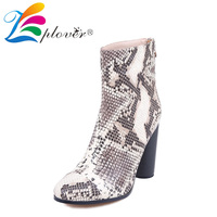 Zplover Winter Boots Soft Leather Shoes Woman High Heels Fur Snow Ankle Boots For Women Botas