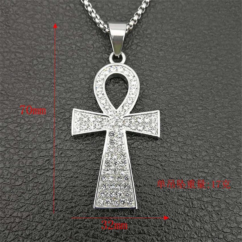 Egipt krzyż Ankh wisiorek z łańcucha ze stali nierdzewnej i Iced Out Bling dżetów naszyjnik Hip Hop egipski biżuteria