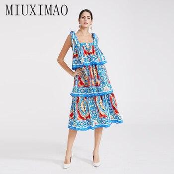 be5aa1796751d Özel Artı Boyutu Elbise 2019 Bahar çiçek elbise Yeni Baskı Mavi ve beyaz  porselen Zarif Ince uzun elbise Kadın vestidos