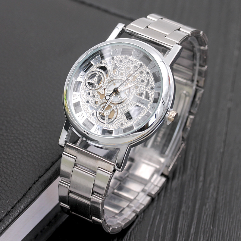 New Brand Watch Men Women Fashion Skeleton Stainless Steel Watches Transparent Hollow Quartz Watch Lmitation Mechanical Clock