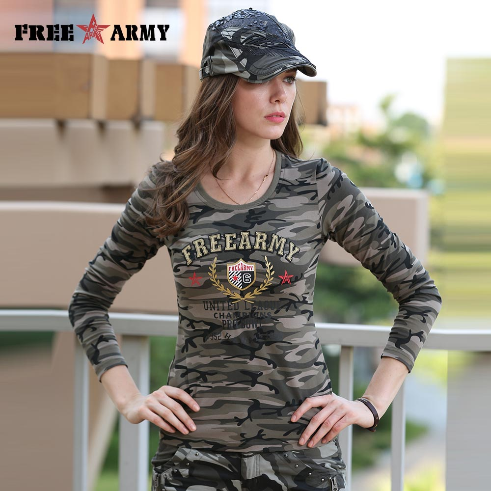 Brand Casual Long Sleeve T-shirts O-neck Women Military T-shirt Army Green  Camo Tee Shirt Cotton Tops Tees Female Large Size 705b263df