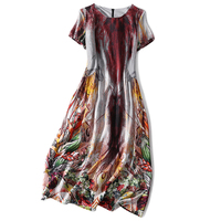 Pure Silk Woman Chinese painting Dress O Neck Ankle Length Casual Long Gown Short Sleeves Female Summer Real Silk A Dress XXL