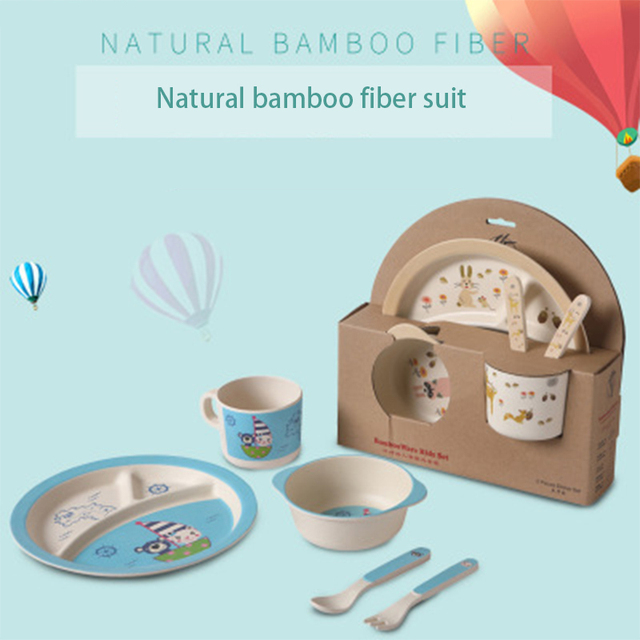 5Pcs/sets Baby Dish Tableware Set Kids Natural Bamboo Fiber Bowl Plate Feeding Dishes Cartoon Fork Spoon Cup Set Kids Utensils