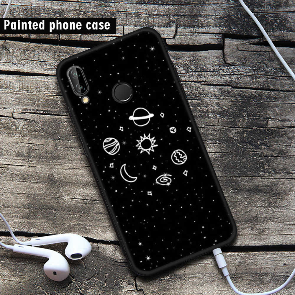 Phone Case For Huawei Honor 8 9 Lite Black Paint Cases For Huawei P8 Lite 2017 P9 Lite 2016 P10 P20 Lite P20 Pro Back Cover Capa
