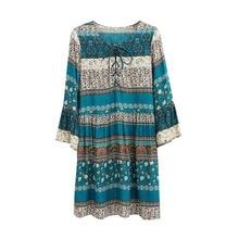 Spring NEW Boho Dress Chic Floral Print Mini Dresses V-neck Hippie Women Dresses 2018 Casual Bohemia Brand Clothing XXL with Belt
