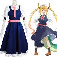 Rolecos – Costume Cosplay Anime, tenue de demoiselle d'honneur, Costume d'halloween Dragon no Maid pour femmes, ensemble complet