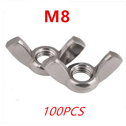 50 Pcs Butterfly Nut Stainless Steel Wing Nut Ingot Nut Hand Tighten M3 M4 M5 M6 M8 Fastener Kit Wing Nuts Assortment Kit Wingnuts with Case