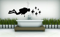 Man Diving Under The Water Silhouette Wall Stickers Home Livngroom Bathroom Wall Mural Decals Man In