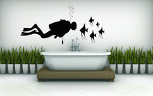 Man Diving Under The Water Silhouette Wall Stickers Home Livngroom Bathroom Mural Decals In With Fish Q-99
