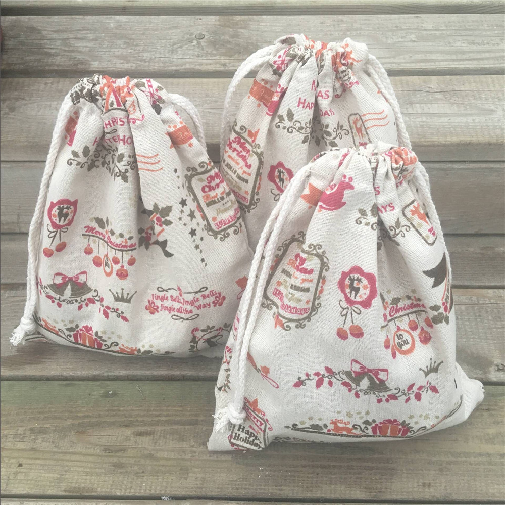 YILE 1pc Cotton Linen Drawstring Pouch Party Gift Bag Merry Christmas Deer Bell 8927c