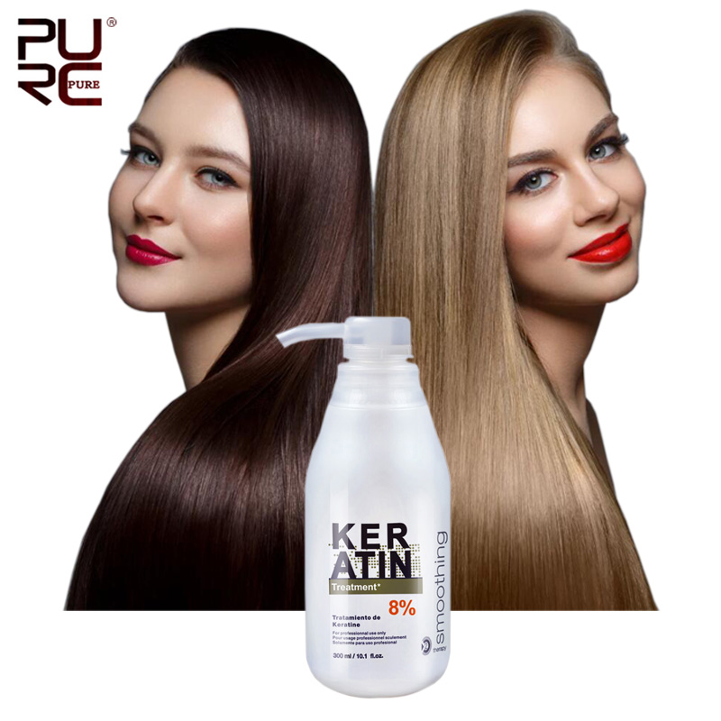 PURC Brazilian 8% 300ml Keratin Treatment Straightening Hair Eliminate frizz and Make Shiny and Smooth Keratin for HairPURC Brazilian 8% 300ml Keratin Treatment Straightening Hair Eliminate frizz and Make Shiny and Smooth Keratin for Hair