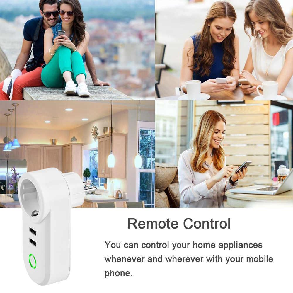 Pilot zdalnego sterowania APP Smart Plug Wifi gniazdko dla Alexa Google domu, ue WiFi inteligentne gniazdko Port USB listwy przeciwprzepięciowe listwa zasilająca