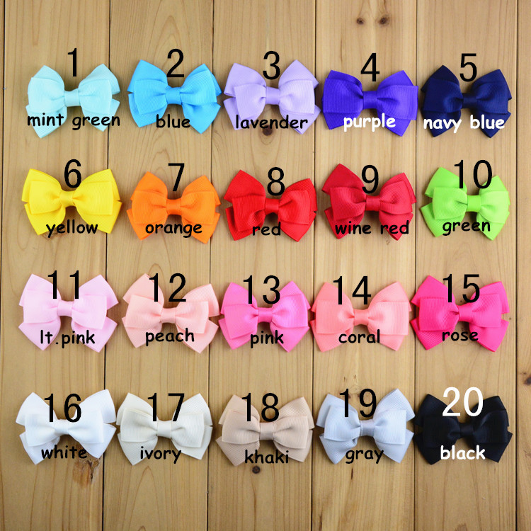 New 20Colors Length 3 High Quality Bowknot WITH CLIP 20pcs/lot children hair accessories for girls FC12