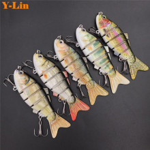 1 pcs 10cm 20g Fishing Wobblers 6 Segments 3D EYE Lifelike hard lure Swimbait Crankbait Fishing Lure Bait with Artificial Hooks