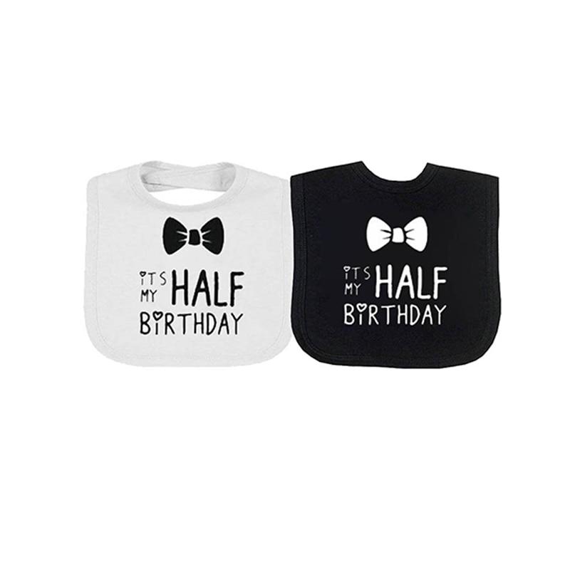 Bibs & Burp Cloths Ysculbutol 2 Pcs/lot Twin Baby Bib Its My Half Birthday More Design Unisex White And Black Baby Bodysuit Gift Showing Bib Accessories