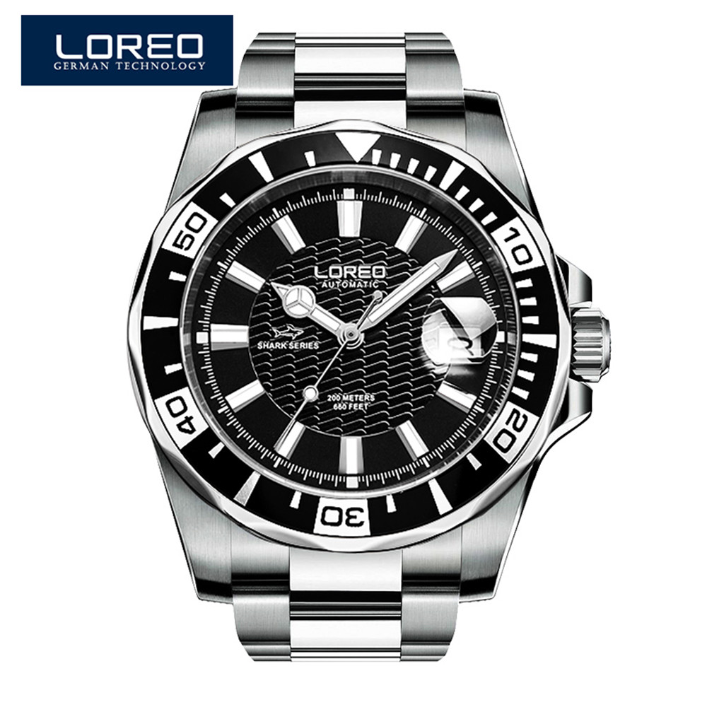 LOREO Mens Watches Top Brand Luxury Steel Automatic Mechanical Watch Men Diver Watches 200M Waterproof Auto Date Luminous Watch tevise men black stainless steel automatic mechanical watch luminous analog mens skeleton watches top brand luxury 9008g