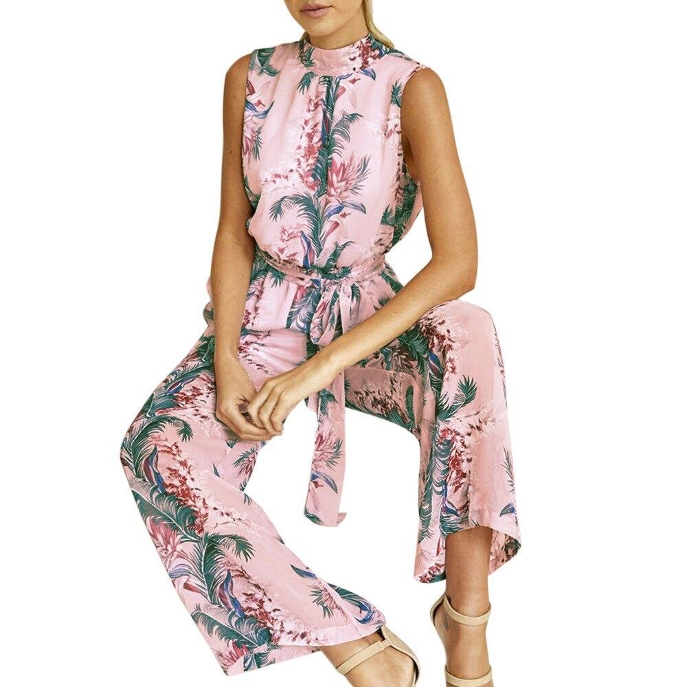 2018 Heiße Frauen Lady Jumpsuit Chiffon Floral Gedruckt Backless Verband Breite Beinhosen Sleeveless Overall
