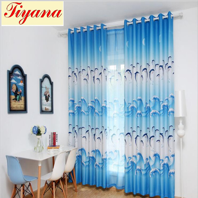 Purple Curtain Blue High Shading Cloth Blind Animal Valance Tulle For Kitchen Living Room