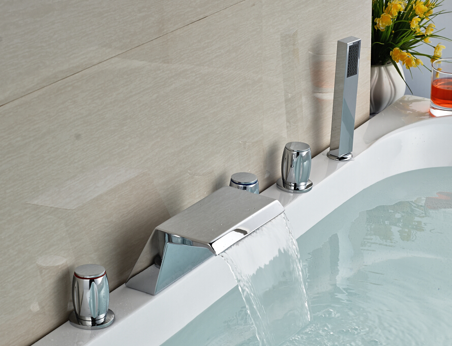 deck mounted 5 holes waterfall bathtub faucet 3 knobs with hand