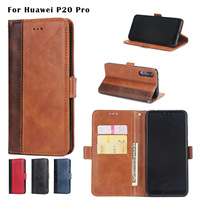 30PCS Leather Flip Case For Huawei P20lite Card Slots Wallet Cover For Huawei P20pro Phone Case Coque Funda