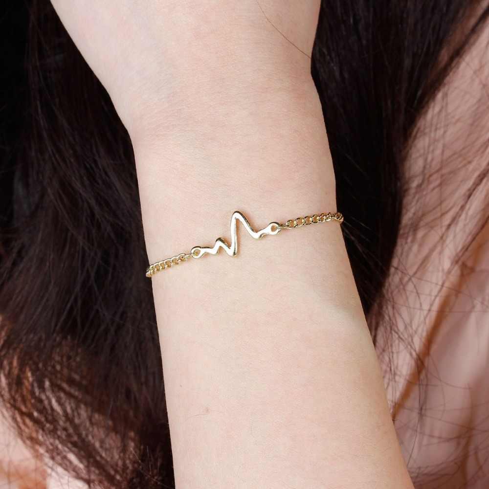 8 עונות אופנה לב פעימות קצב שרשרת צמיד עם משתלשל תכשיטי צמידי שחור זהב כסף צבע, 1 חתיכה