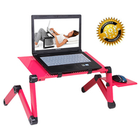 Multi Functional Ergonomic laptop stand for bed Adjustable Portable Folding laptop table with mouse pad and usb cooliing fans