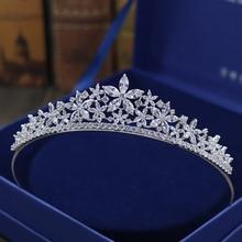 SLBRIDAL Crystals Rhinestones Pearls Copper Cubic Zircon Wedding Tiara CZ Bridal Queen Princess Pageant Party Crown Bridesmaids