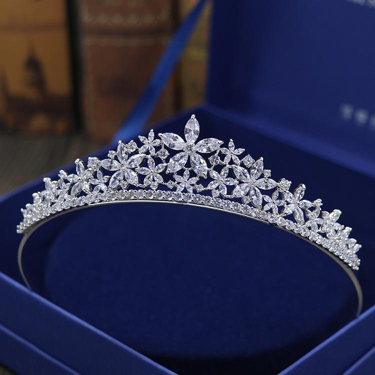 Stunning Crystals Rhinestones Pearls Copper Cubic Zircon Wedding Tiara CZ Bridal Queen Princess Pageant Party Crown Bridesmaids