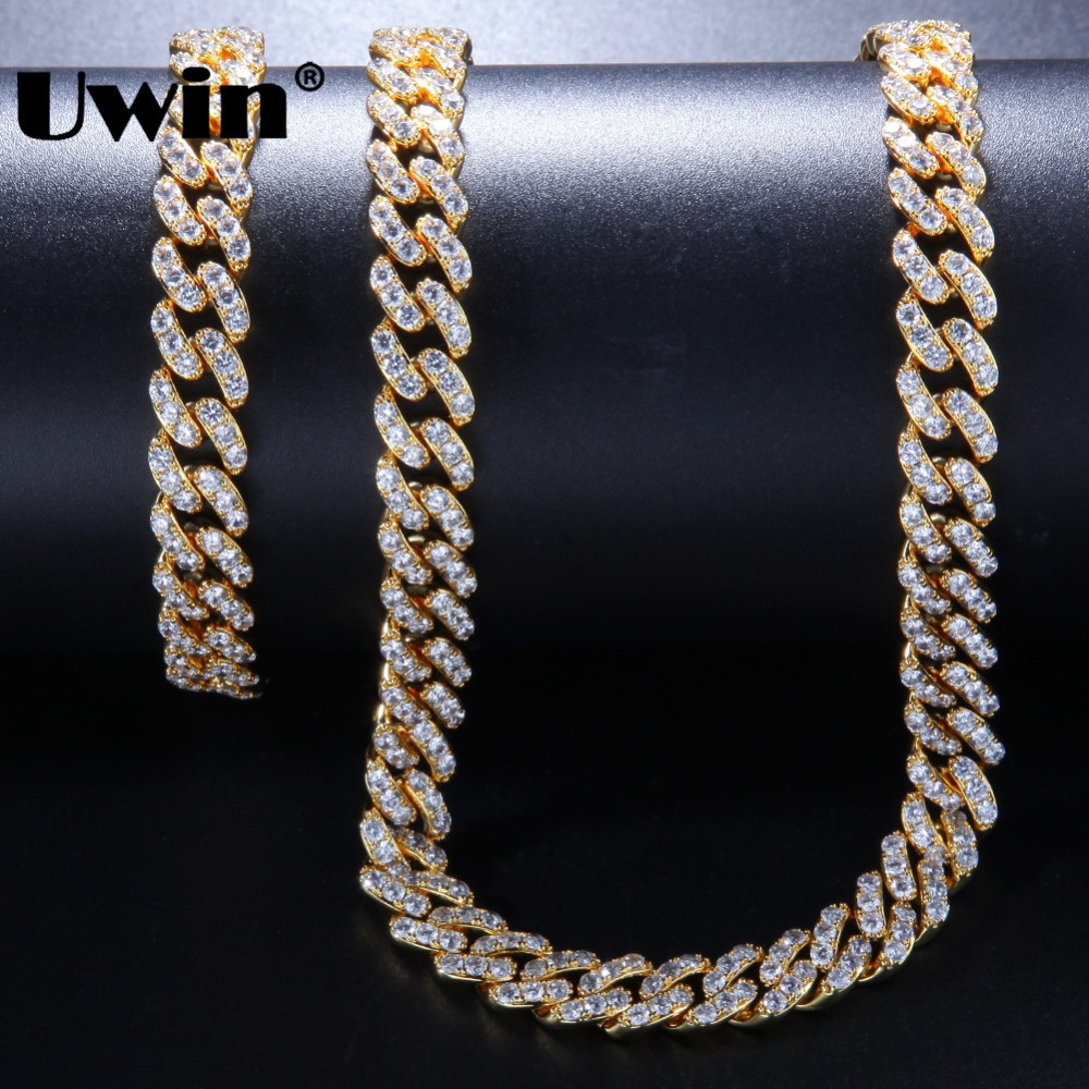 Uwin 9mm Necklace & Bracelets Set Full CZ Bling Fashion Cuban Link Chain White Gold Color Hiphop Jewelry For Women Drop Shipping