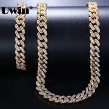 Uwin 9mm Necklace & Bracelets Set Full CZ Bling Fashion Cuban Link Chain White Gold Color Hiphop Jewelry For Women Drop Shipping(China)