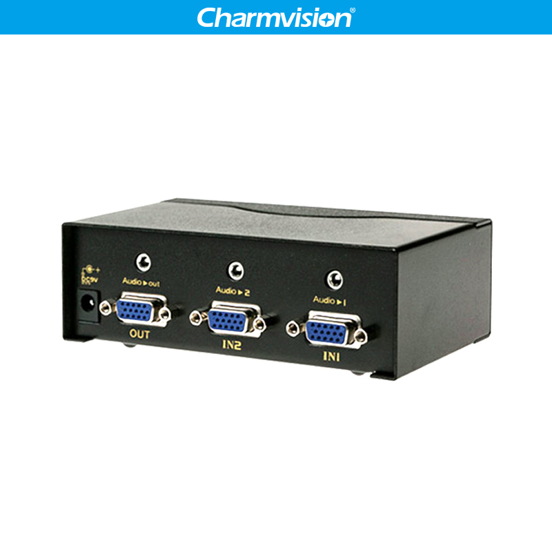 Charmvision VA201R 2 Ports VGA Audio Switcher Auto Scanning Remote Control VGA 3.5mm AUX Audio Simultaneously Control Switch
