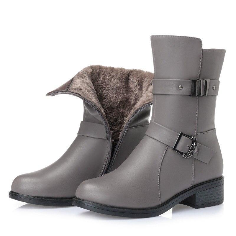 Wool Fluff Cuir Véritable Strass Black BottesChaud Nouveau gray Gland De Hauts gray 2018 Laine Wool Hiver Automne En Mode Talons Bottes Alishinrey black Femmes À Fluff Rj5L4Aq3