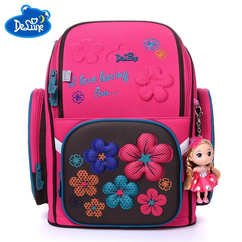 2018 Delune Brand High Quality Kids School Bags for Girls 3D Bear Print Cartoon SchoolBag Children