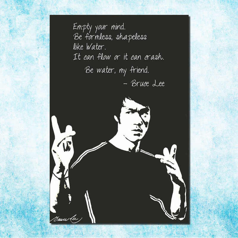 Bruce lee Chinese Kongfu Hot Movie Art Silk Canvas 13x20 24x36 inch Zwart Wit Foto voor Kamer Muur Decor (meer)-4