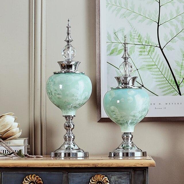 Creative European Furnishing Articles Sitting Room Porch TV Ark Home  Decoration Crystal Glaze Ceramic Craft Desktop