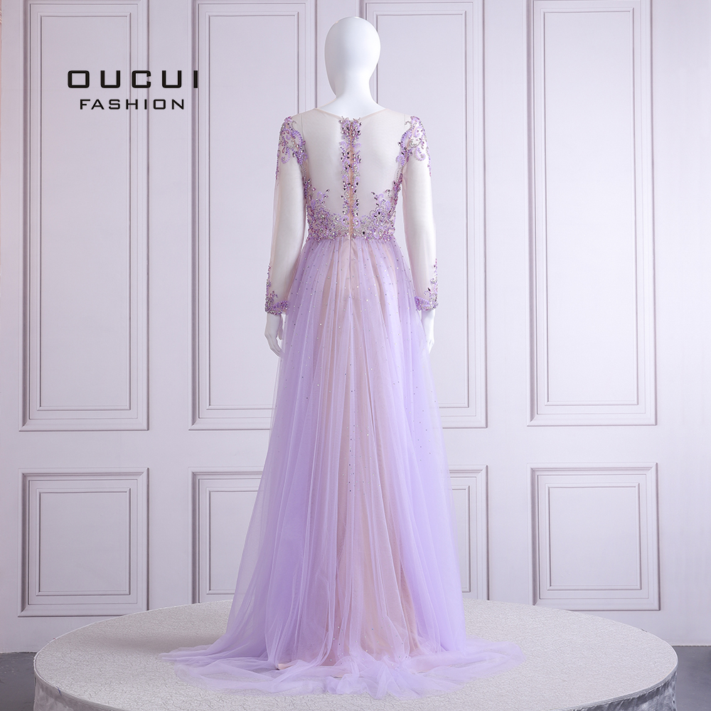 Image 2 - 2019 Elegant Lilac Evening Dress Long Sleeve V Neck Sexy Illusion Beaded Crystal  Court Train Robe De Soiree Plus Size OL103090BEvening Dresses   -