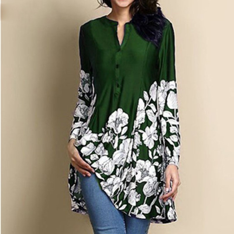 Women Floral Printed Blouses Plus Size Long Sleeve Tunics Tops Summer Fall Loose Ladies Office Shirts Blusa