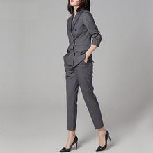 Womens Synthetic Suit  Autumn New Style Office Lady Pant Slim Fit Two-Piece Set Woman Wear Uniform JK-3628