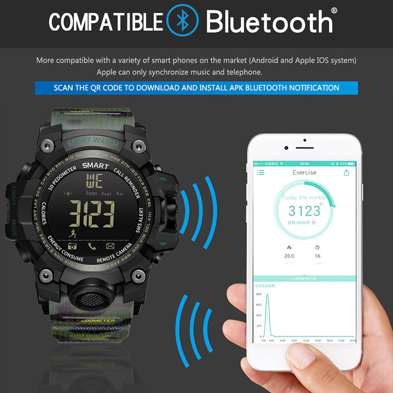 Men Sports Smart Watches Waterproof Electronic Watch Zegarki Meskie Running Watch LED Digital Watch Bluetooth Smart Wristwatches