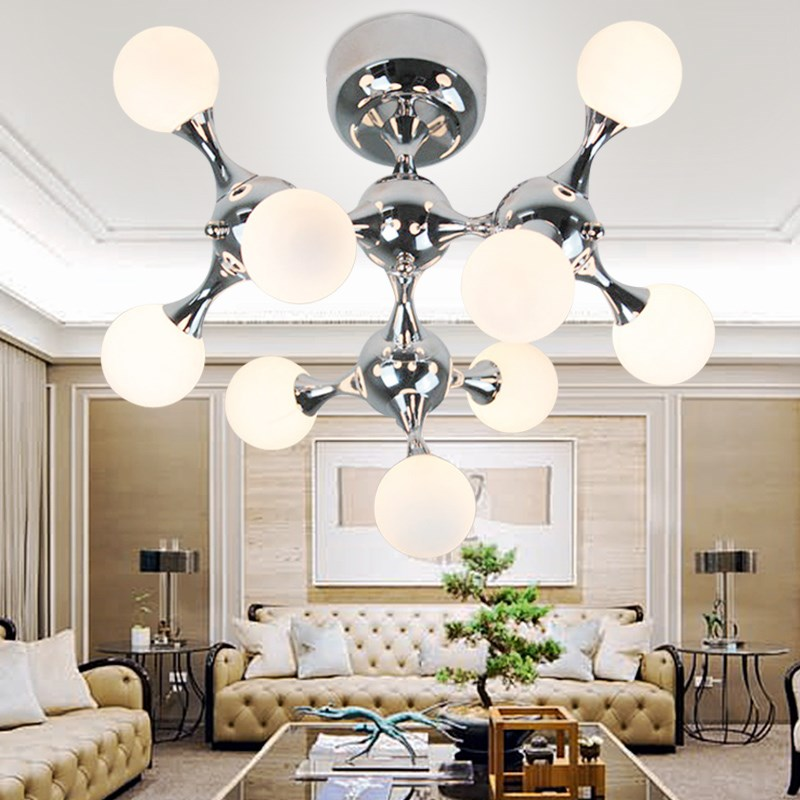 Fashion Art Personality Original Modern Simple Ceiling Light Bedroom Glass DNA lamp Molecular Ceiling lamp Mechanical FG520
